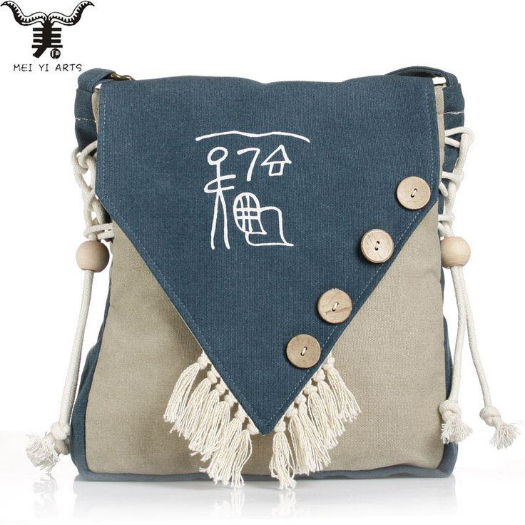 Meiyi B25-2 Brand Women Girls Canvas Crossbody Bag Buttons Beads Tassels Hand-Painted Shoulder Bag Vintage Satchel Bags