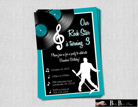 Rock & Roll Music Birthday Party Invitation- Printable - I could make something like this too.