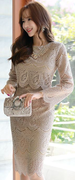 StyleOnme_Luxury Scallop Trim Lace Dress #lace #classy #koreanfashion #kstyle #kfashion #feminine #seoul #falltrend