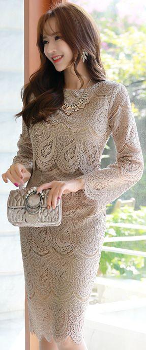 StyleOnme_Luxury Scallop Trim Lace Dress #lace #classy #koreanfashion #kstyle #kfashion #feminine #seoul #falltrend