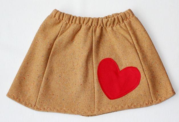 RoomStyle Spódnica Dresowa Karmel Serce 2+ - RoomStyle - Spódniczki dla dziewczynek