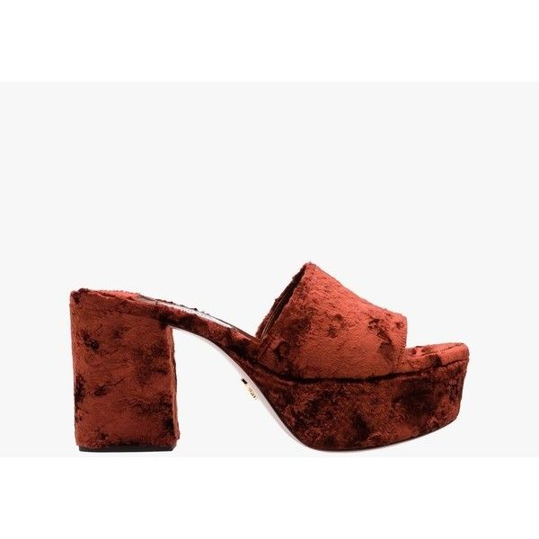 Prada Velvet Platform Mules (€260) ❤ liked on Polyvore featuring shoes, mid heel, red, sandals, platform mules, red platform shoes, red shoes, high heel platform shoes and velvet mules