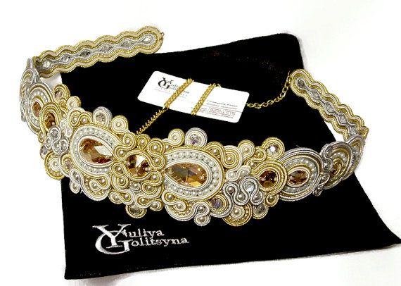 Soutache dress belt Soutache sash Sash belt by YGSoutache on Etsy| 250,00 €