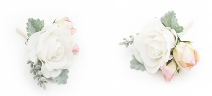 Dusty miller, rose and santolina buttonholes with wrapped stems by https://www.loveflowers.com.au