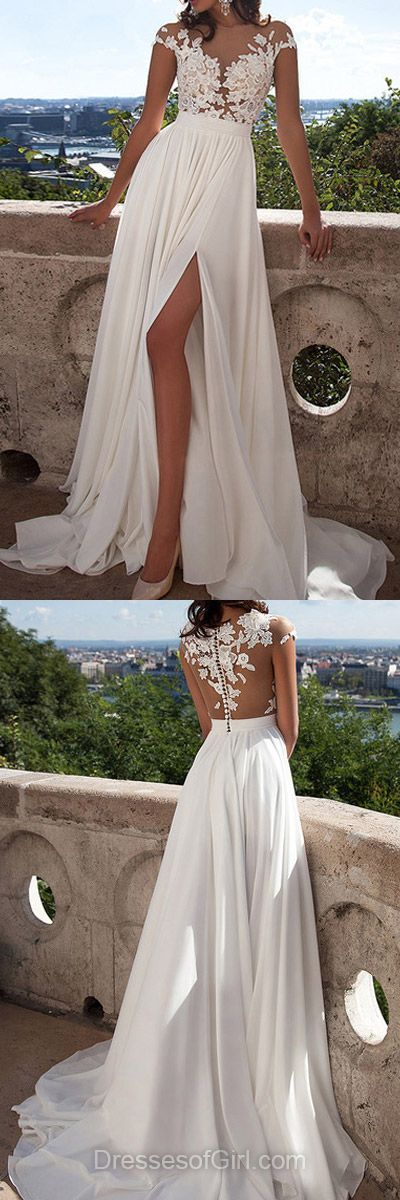 Fabulous A-line Scoop Neck Tulle Chiffon Sweep Train Appliques Lace Cap Straps Ivory Prom Dresses