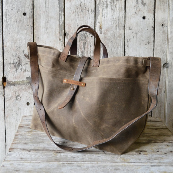 Super Roomy Large Waxed Canvas Tote: Truffle, antique military leather, antique fabric pocket. via Etsy