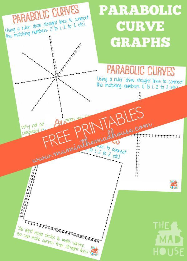 Download your free parabolic curve graphs templates, which make excellent kids worksheets for learning how straight lines can make curves and then go on to make wonderful art.