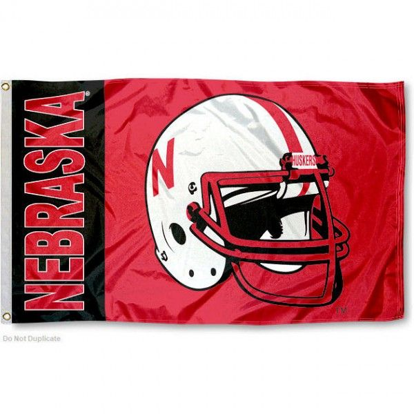 Nebraska Cornhuskers Football Helmet Flag your Nebraska Cornhuskers ...