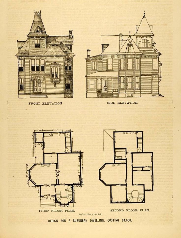 1878 Print Victorian Suburban House Architectural Design Floor Plans D MAB1 in Collectibles | eBay