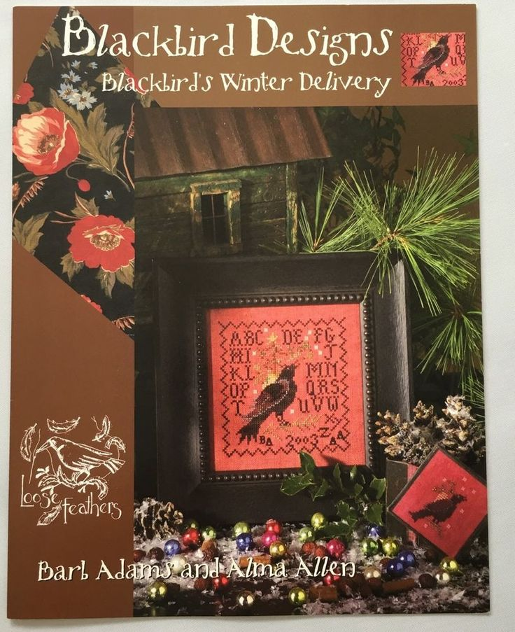 Blackbird Designs Blackbirds Winter Delivery Cross Stitch Pattern Loose Feathers #BlackbirdDesigns #Sampler