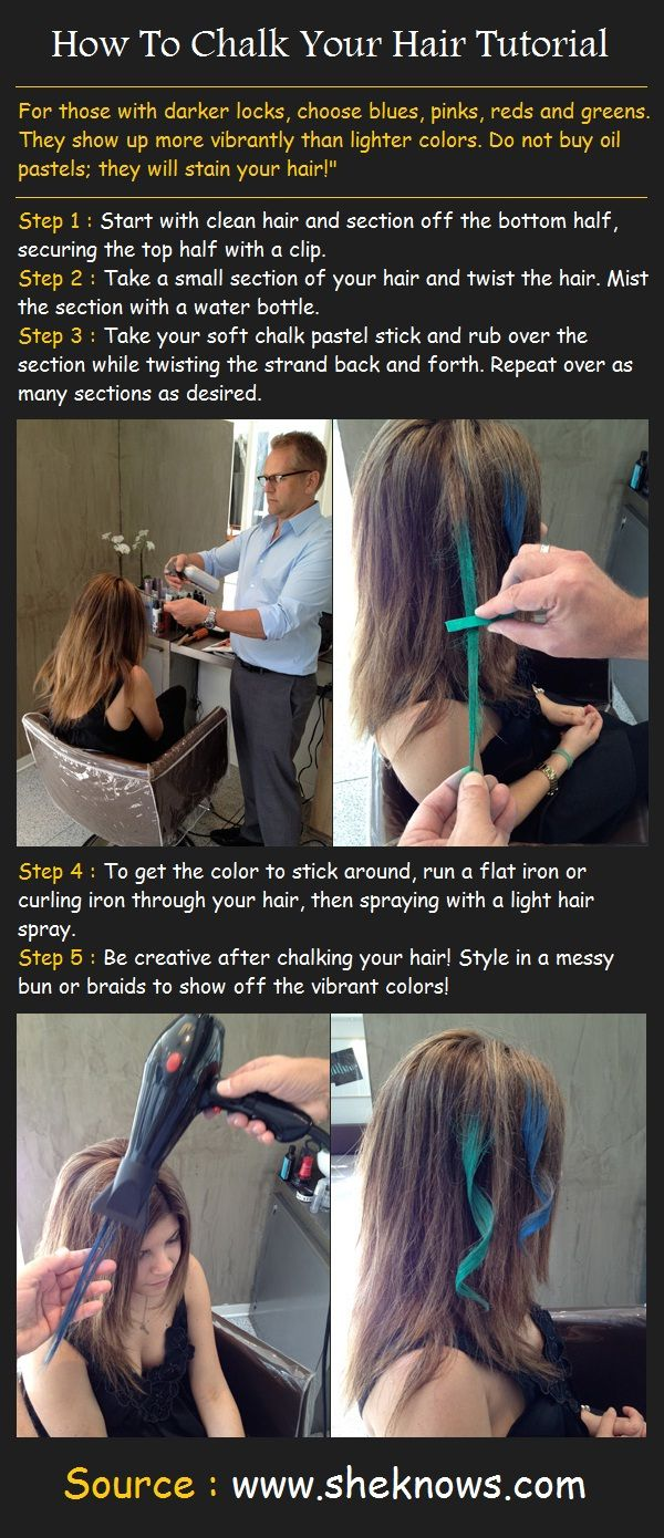 I have purple hair chalk that the girls can borrow!! How To Chalk Your Hair Tutorial