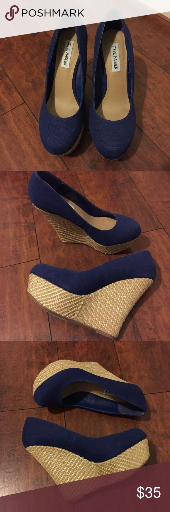 Steve Madden Blue & Cream Wedges Size 8. Good condition. Blue top, cream/nude bottom Shoes Wedges