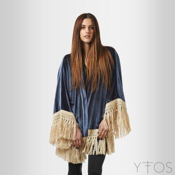 'The Hermit' Blue Velvet Kimono W/ Fringes by @Karavan Clothing www.yfos.eu