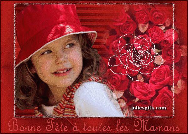"""""""Bonne Fête à toutes les mamans"""" - Fillette et roses..."""