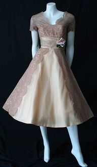 1950s Mocha Lace Dress - Great 2nd Wedding Dress