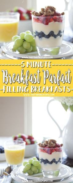 Breakfast Yogurt Parfait : Fast Healthy Breakfast Idea - A total of six 5 minute breakfast ideas that you and your kids will love! Check out all the other ideas for lots of great quick breakfast ideas!