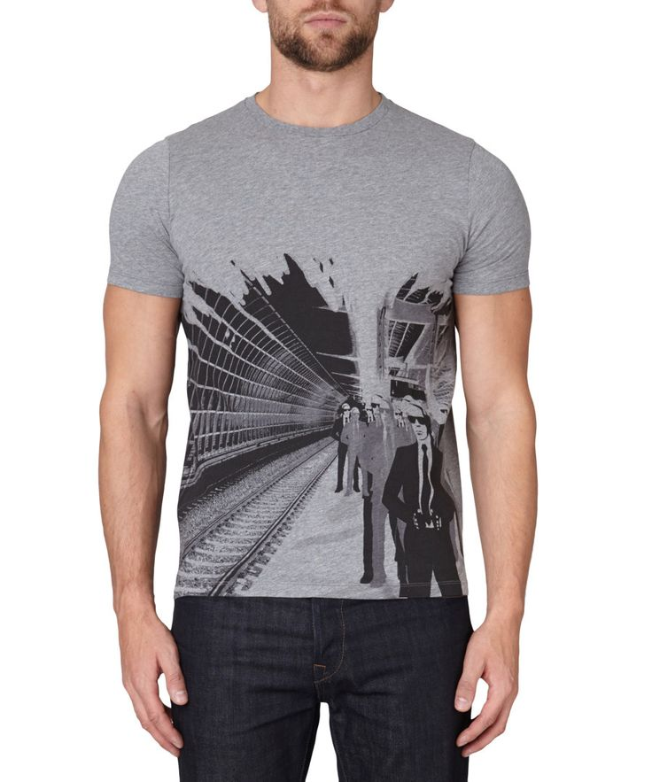 Grey pure cotton graphic T-shirt Sale - Lagerfeld by Karl Lagerfeld