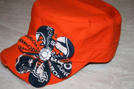 DENVER BRONCOS Bling Cadet Military CAPS  Hats Shabby Chic Ladies Women Bling Caps Baseball Caps  Game Day   University Football Accessories...
