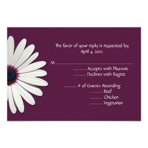 Daisy Purple Reply Cards with Menu Options Custom Announcements