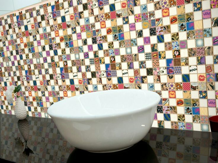 Patterned tiles add great colour to a kitchen splash or bathroom feature wall.
