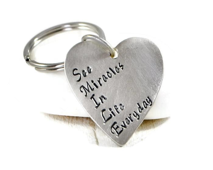 Smile Quote Keychain. Silver Heart Keychain. Smile Acronym Keychain. Happiness Keychain. Gift For Her. Mothers Day Gift. Best Friends Gift.