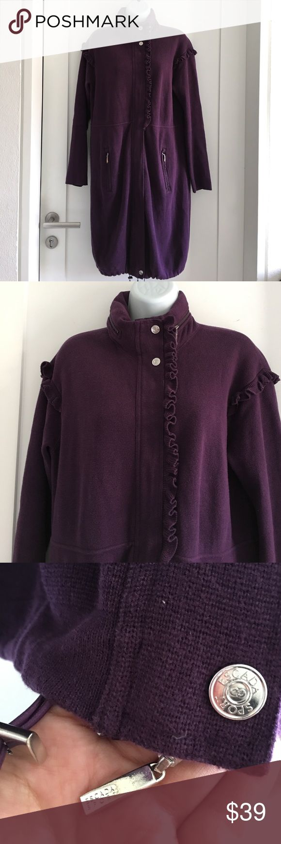 """Escada Sport Long Zip Up Hoodie Knit Sweater sz S Preowned authentic Escada Sport Long Zip Up Hoodie Knit Sweater sz S. Hoodie is waterproof. 100% cotton. Collar to hem is 37.5"""" inches. Please look at pictures for better reference. Thank you for looking and happy shopping! Escada Tops Sweatshirts & Hoodies"""