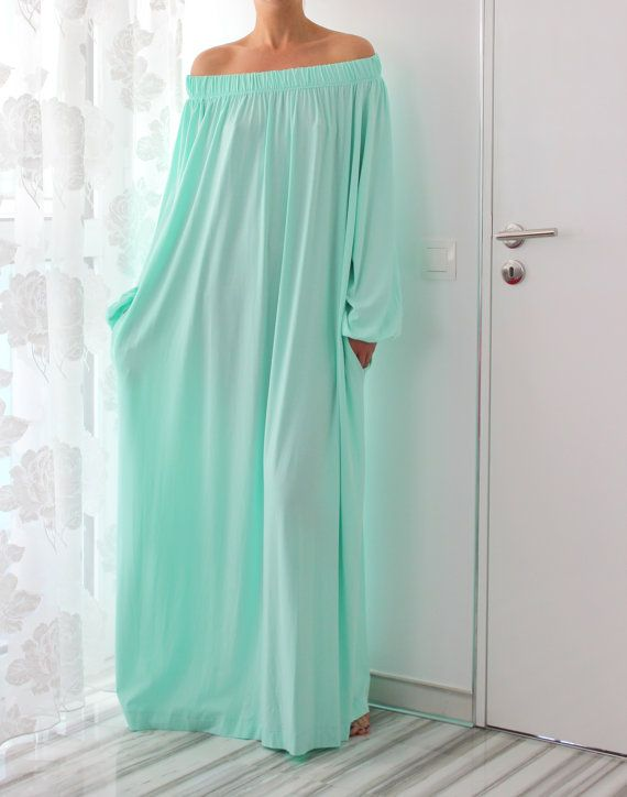 MINT Maxi Plus size Caftan Cotton Long day by cherryblossomsdress, $99.00