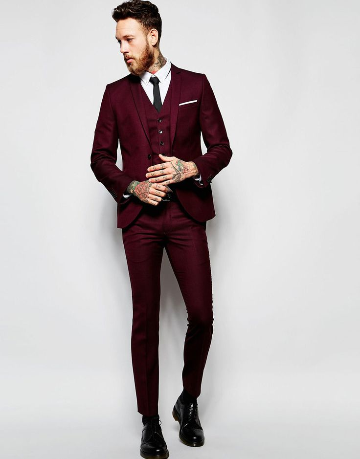 Heart & Dagger Burgundy Suit in Birdseye Fabric in Skinny Fit
