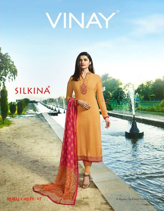 af78c68124 Vinay Fashion Silkina Royal Crepe Vol 17 Designer Printed Crepe with  Embroidery Work Dress Material Collection at Wholesale Rate