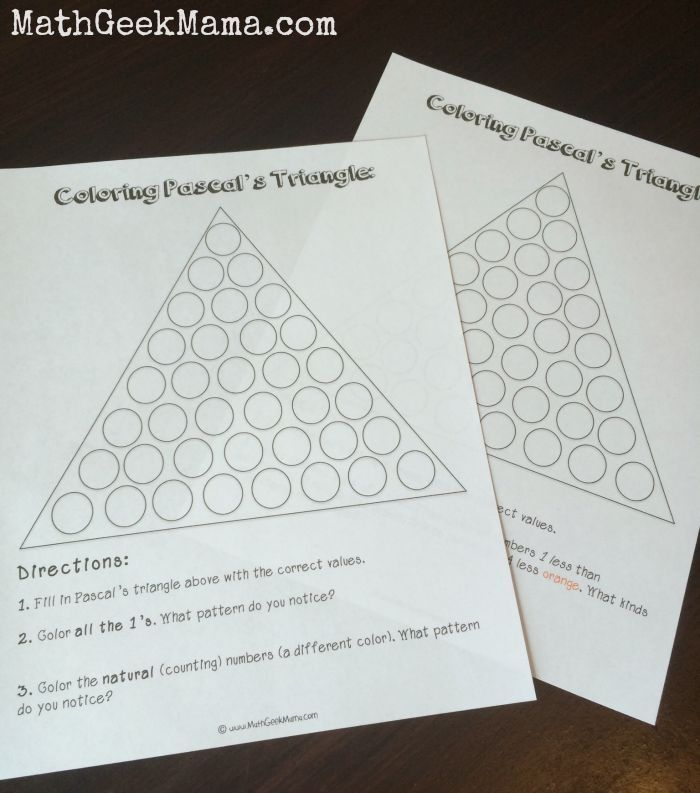 Exploring Patterns in Pascal's Triangle {FREE Printables!} | pola n