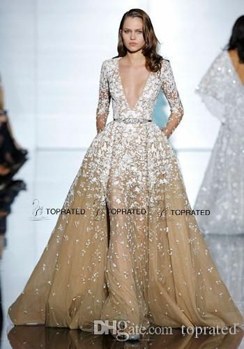 2015 New Zuhair Murad Evening Dresses Formal Prom Gown With Deep V Neck Long Illusion Sleeve Beaded Crystals Appliqued Champagne Tulle Evening Dresses For Teenagers Evening Dresses Shop Online From Toprated, $149.85| Dhgate.Com