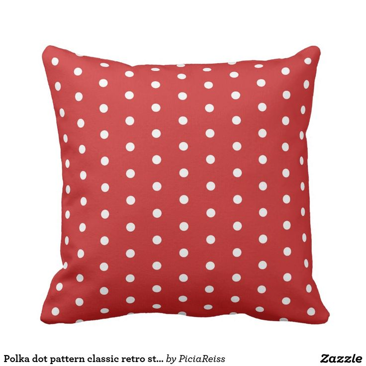 Polka dot pattern #classic #retro #vintage #style red #cushion, #throw #pillow