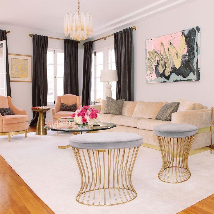 peach charcoal living room