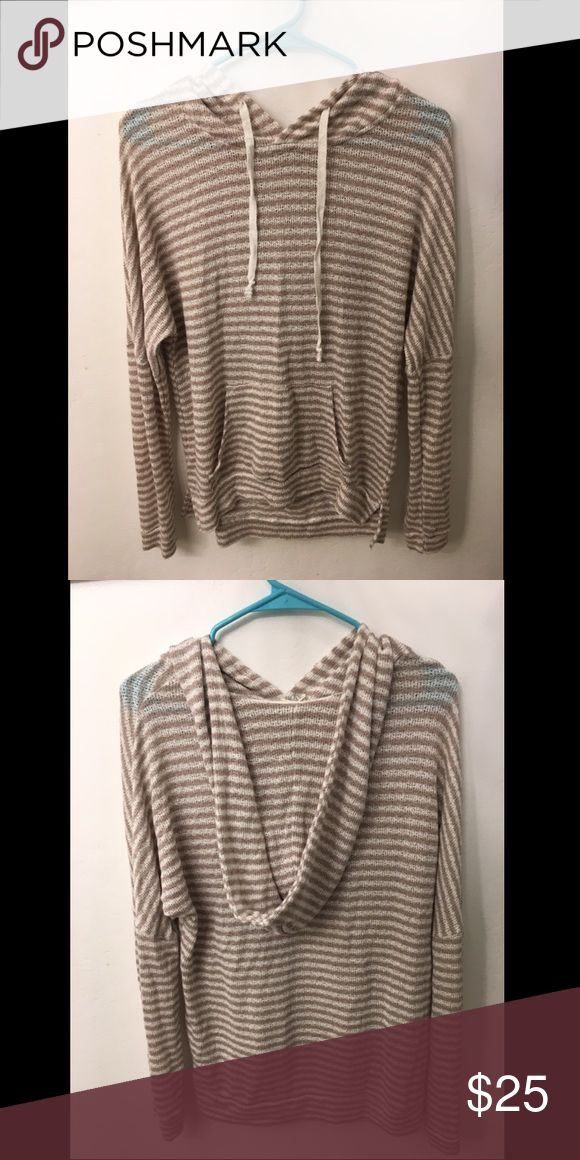 Boho Striped Hoodie A loose, white and tan striped hoodie perfect for anywhere. Can be worn as a tip for school or a throw-over for the beach. Only worn once, selling because I bought the wrong size. Full Tilt Tops Sweatshirts & Hoodies