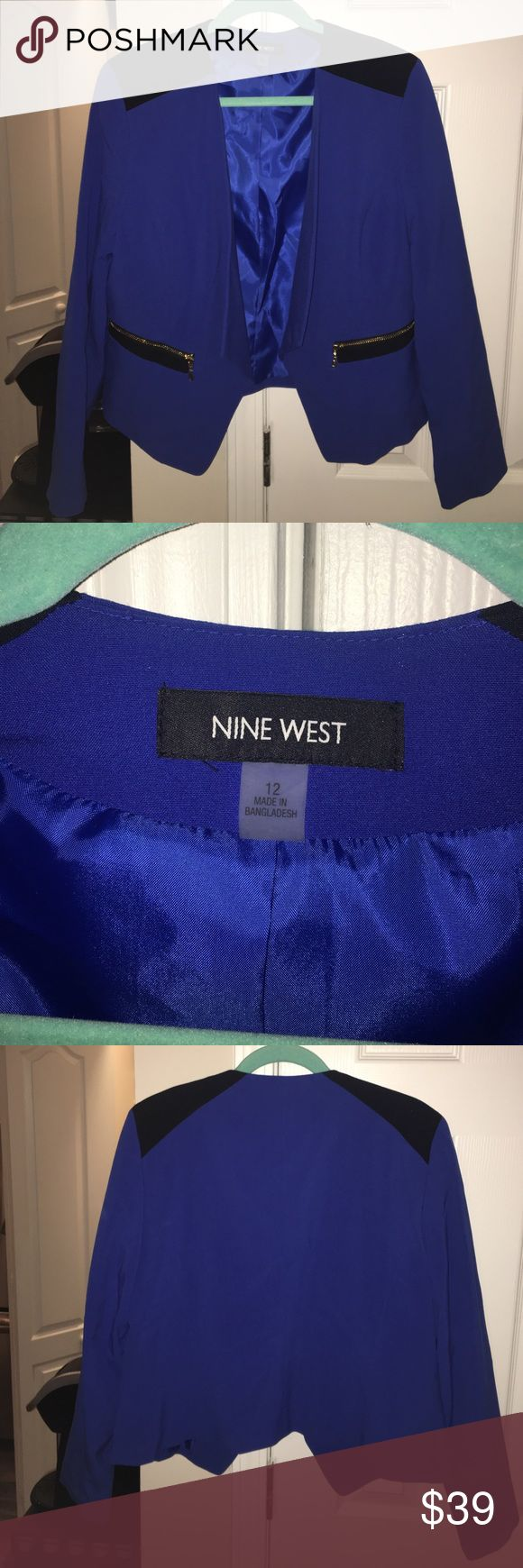 Nine West royal blue blazer with gold zippers! This Nine West blazer was never worn and is in perfect condition! The gold zippers add a trendy touch. You can definitely dress this one up or down! Nine West Jackets & Coats Blazers