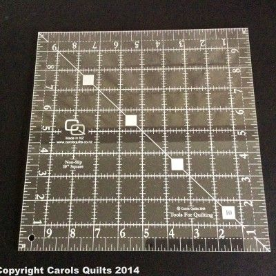 69. Quilting Square Ruler: (non-slip) 10″ This Quilting Square Ruler is ideal for layer cakes, and for cutting squares across the width of the fabric.  i.e. fold into 4 and cut large blocks for a quick quilt.  Large numbers, non-slip, laser etched, 3mm thick and clear.