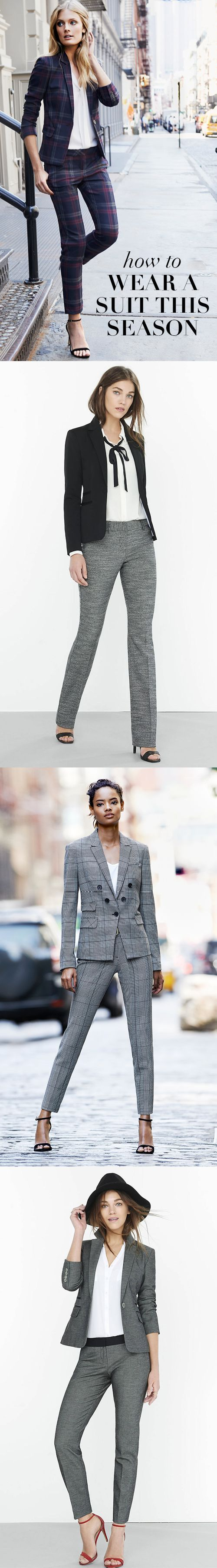 The Express suit shop has perfectly chic looks for your 9-to-5 life. The matching print jackets and ankle pants can be worn with solid pieces or the new tie-neck blouses for days when a full suit doesn't qualify for the job. The jackets have a silky soft lining so they're warm during the city commute.