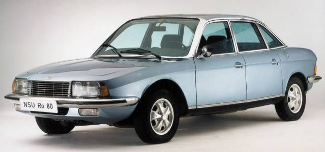 NSU RO80 - advanced, sleek earodynamic styling, far ahead of most other car designs. It was 1967 when this car hit the showrooms! Oh, and the rotary engine of course. Not a pinnacle of reliability.