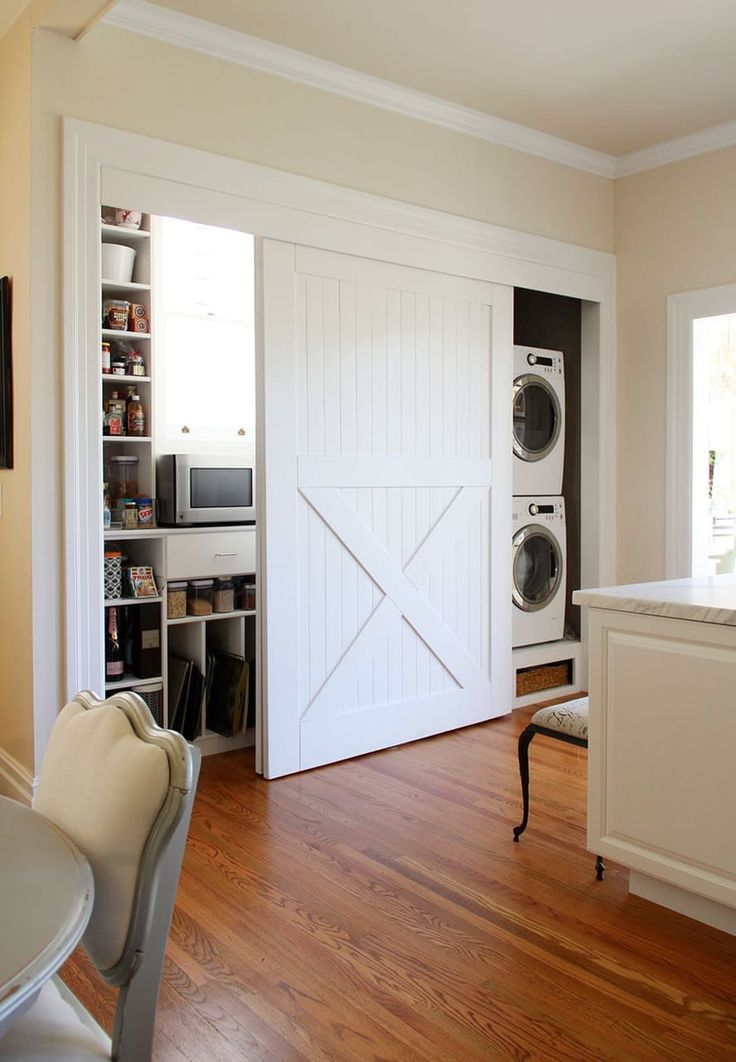 maybe sliding doors would work best for my laundry closet - hide the water tank but still give me wide enough access to the washer and dryer