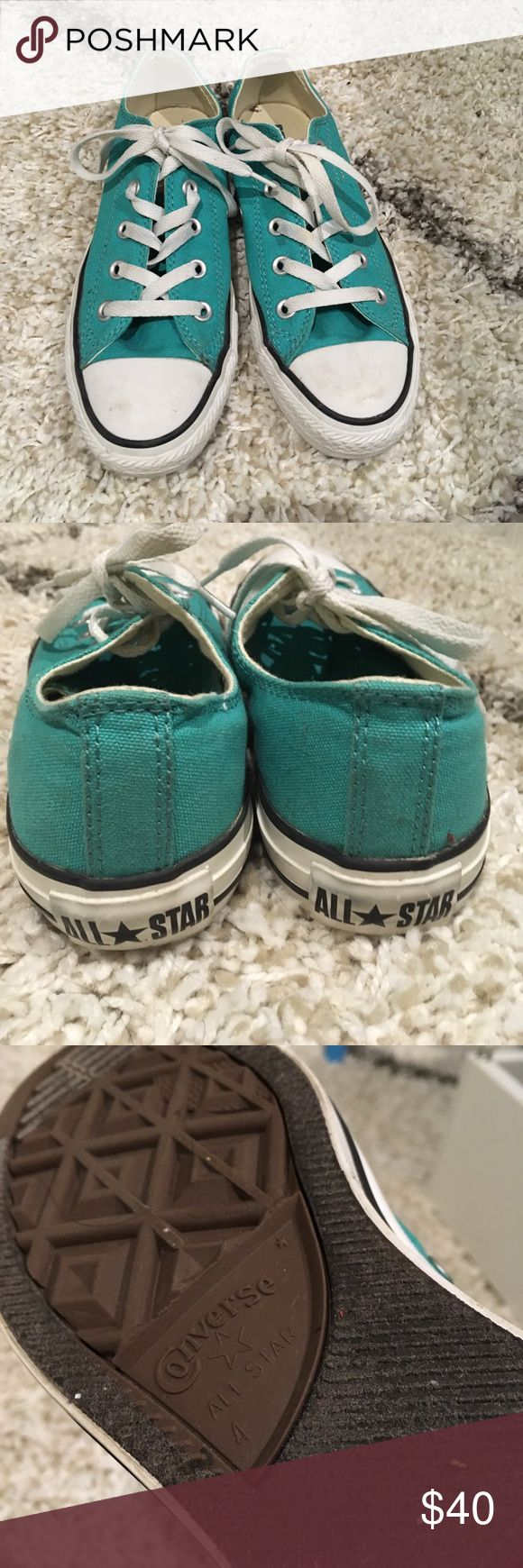 Turquoise Converse low top sneakers Worn 2x. Like new. Men's 4, Women's 6 Converse Shoes Sneakers