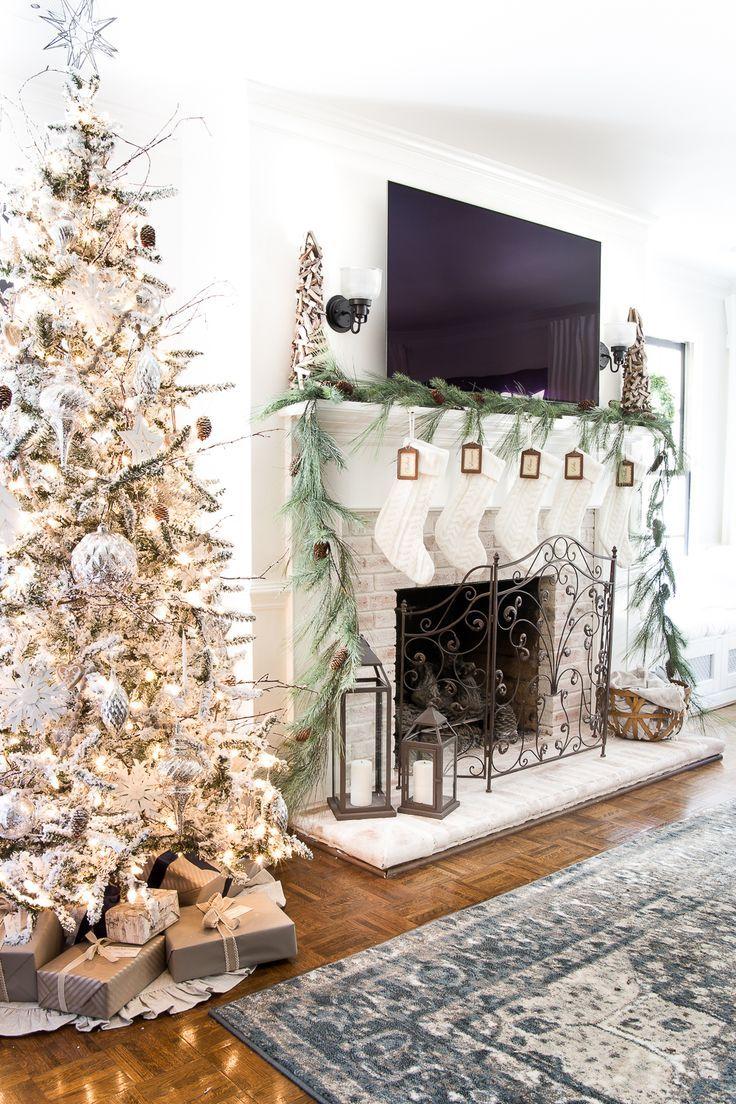 Seasonal Simplicity Christmas Living Room | blesserhouse.com - A tour of a neutral Christmas living room with simple, natural decor, mercury glass, and a modern rustic vibe. #christmaslivingroom #neutralchristmas #christmasdecor