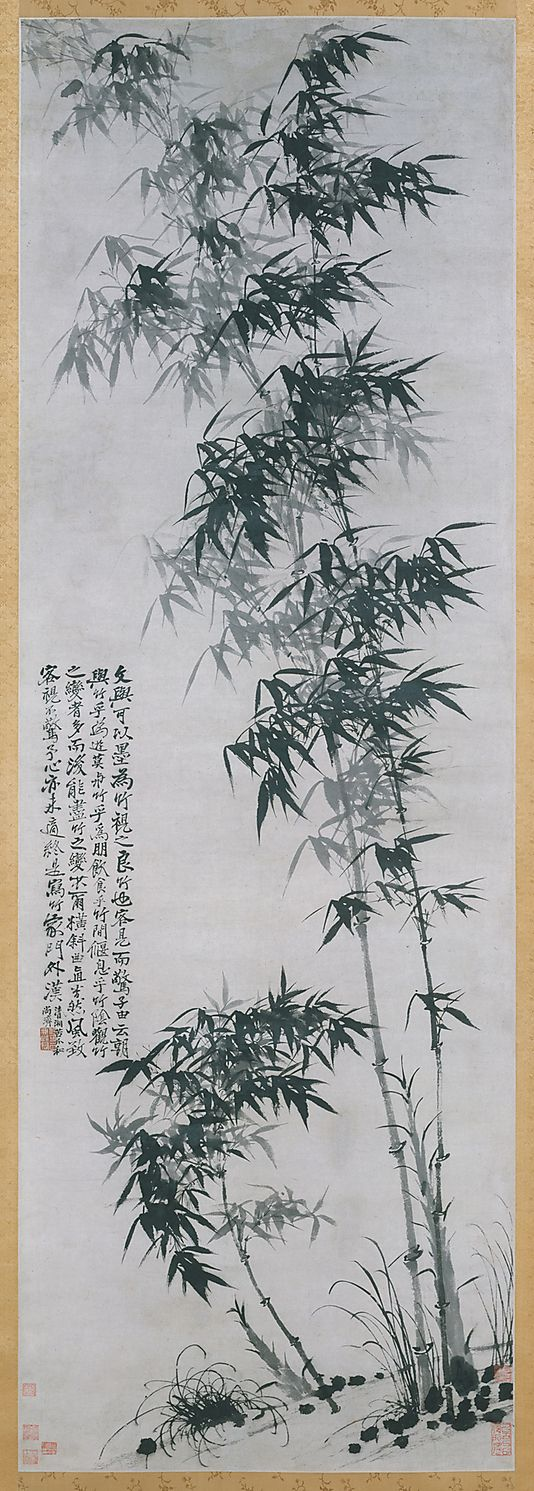 Bamboo in Wind and Rain  Shitao (Chinese, 1642–1707)  Qing Dynasty  Hanging scroll, ink on paper