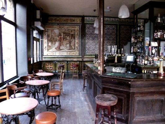 """Ten Bells Spitafields London -where """"Ripper"""" victims Annie Chapman and Mary Kelly frequented and sought customers outside the pub in London, England."""