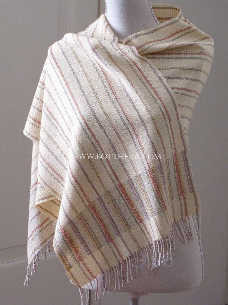 Hay Straw Stole - silk, wool, cotton, yarn, weaving, vegetable dyeing, cross stitch http://bottheka.com/en/3-in-1