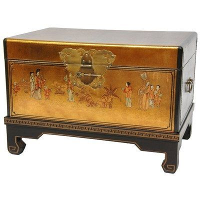 Hand Painted Asian Decor 26-Inch Gold Leaf Small Trunk Oriental Hope Chest