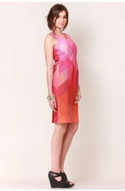 Pink & Orange Blended Check Dress - This peg dress has an amazing fit that is so comforting that you would not want to come out of it. The blended hues just adds to the glamour and the dress shall look best teamed with flats for a day out with the gang.