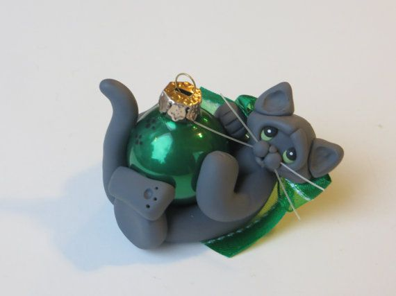 Russian Blue Gray Cat Christmas Ornament by HeartOfClayGirl