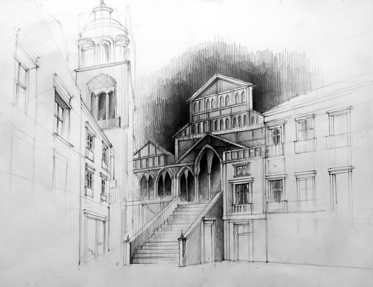 Sketches of historic buildings made on 70x50 cm paper on Behance