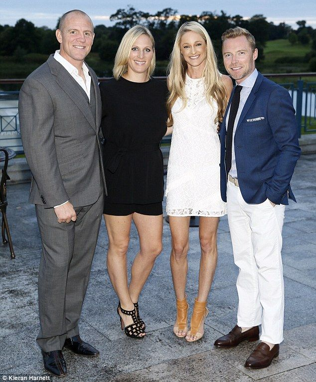 Glamorous: Zara, pictured with husband Mike, Storm Uechtritz and Ronan Keating at an M&S Ireland charity event last month, is currently working towards Team GB selection for the Rio Olympics next year