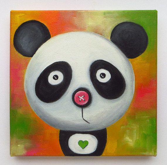 Pandas Portrait Original Art Animals Oil on canvas by MikiMayoShop